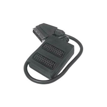 2 Way Female Scart adapter to Male scart Cable 0.4 meter (Black)