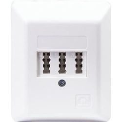 Surface-mounted connection box TAE-F 3 x 6 (4) NFN for connecting 2 accessories and telephone set - white