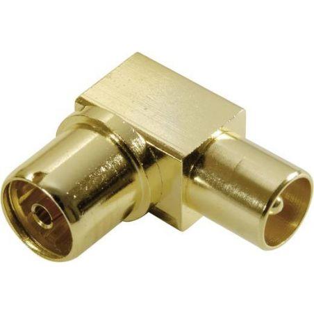 Vivanco 43077 Vivanco angle coaxial adapter, gold plated, full metal connector
