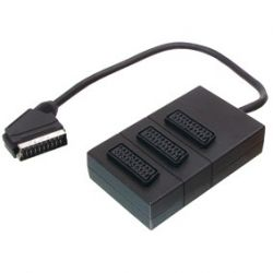 3 Way Female Scart adapter to Male Scart Cable 0.3 meter (Black)