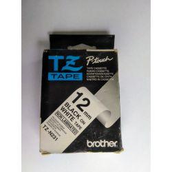 Ruban Brother 12 mm noir sur blanc - ruban non laminé