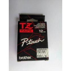 Brother 12 mm zwart op doorzichtig tape - gelamineerde tape
