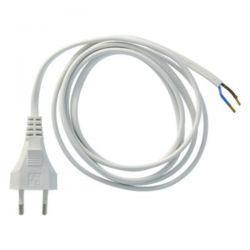 EXIN - Câble de connexion 220V AC Euro avec fiche 2 X 0.75mm2 - 1.8m gris argent