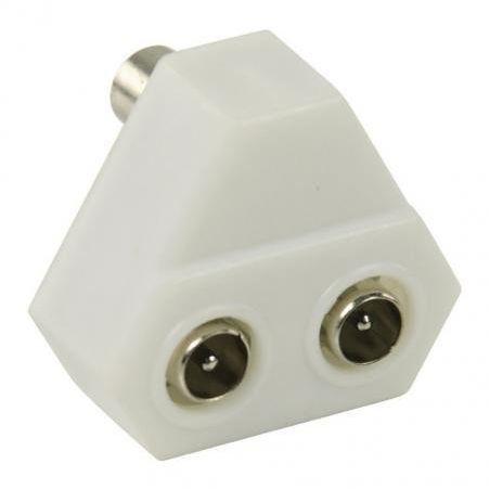 Basic TV Coax splitter - 2 Way - White