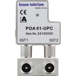 Braun Telecom TV splitter POA 01-UPC with 2 outputs - 4 dB / 5-2000 MHz (Ziggo suitable)
