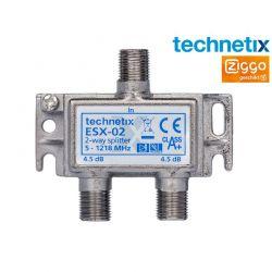 Répartiteur d'armoire de compteurs Technetix ESX-02 - 2 sorties - 4,5 dB / 5-1218 MHz (compatible Ziggo)
